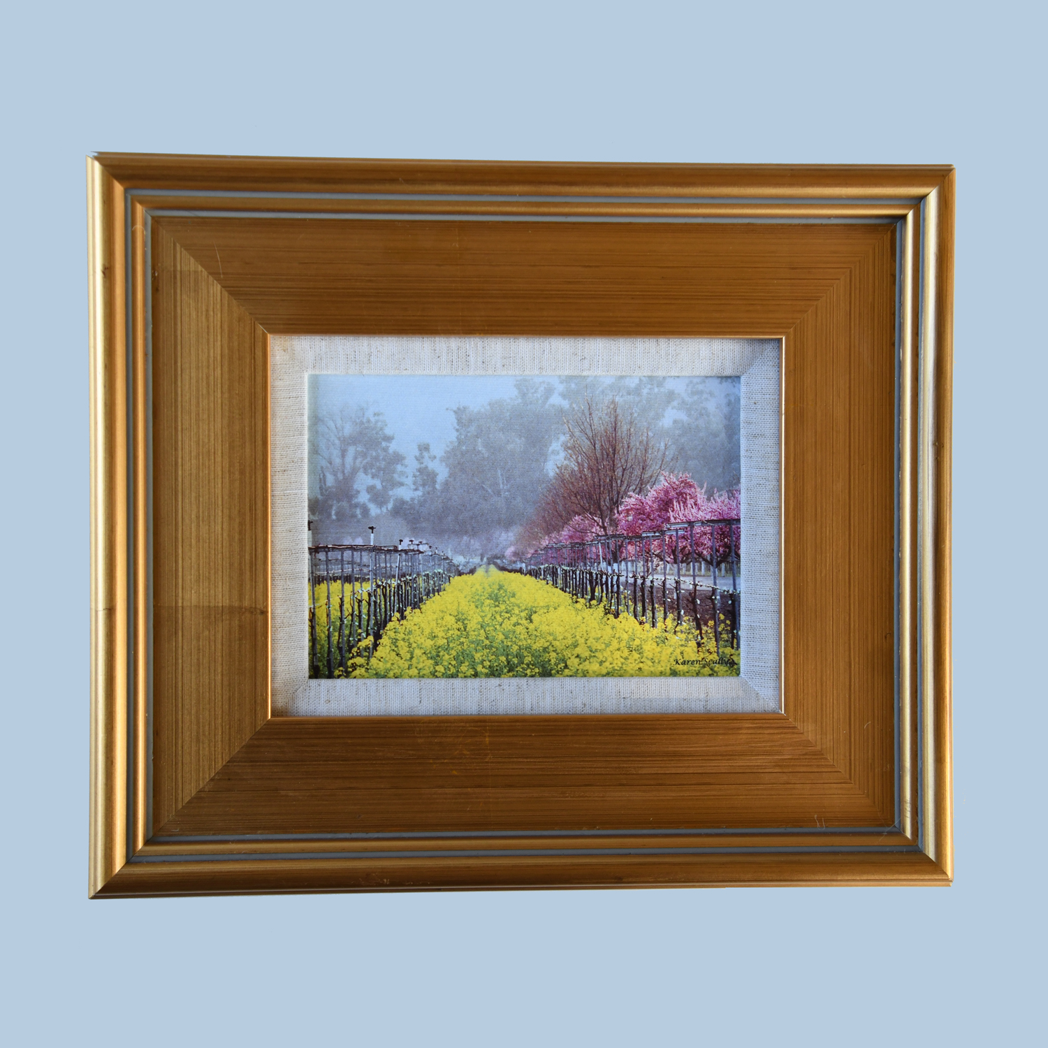 5x7 Pink Trees with Golden Frame
