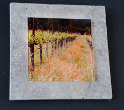 Napa Valley glass on travertine