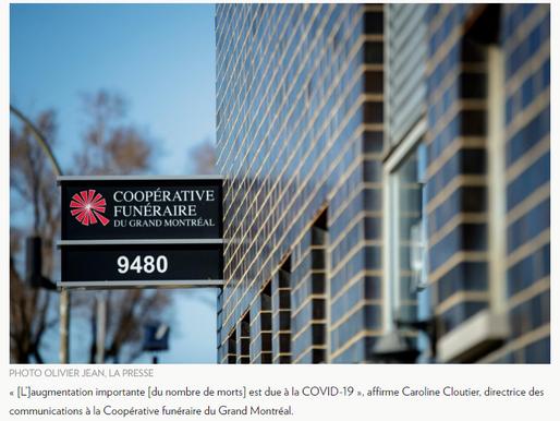Salons funéraires de Montréal: au moins 50% plus de morts