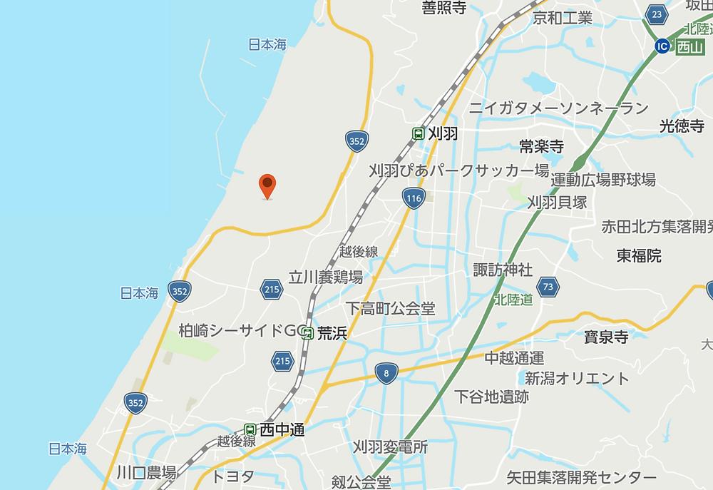 柏崎刈羽原子力発電所の地図