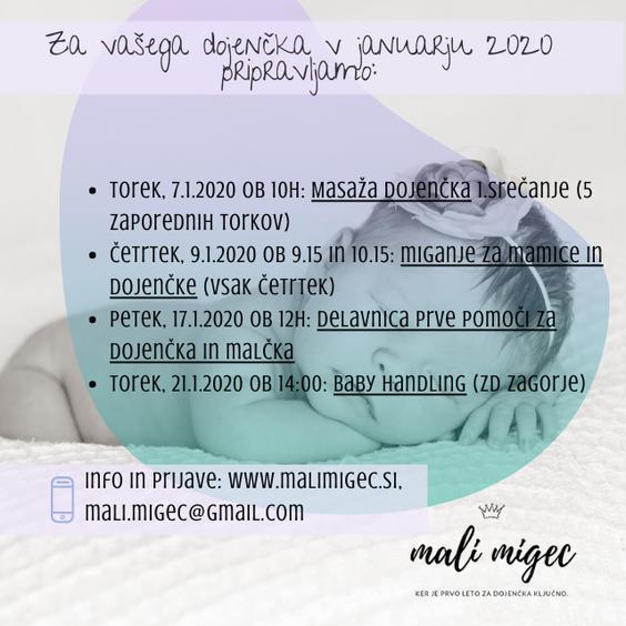 Dogodki za mamice in dojenčke v letu 2020