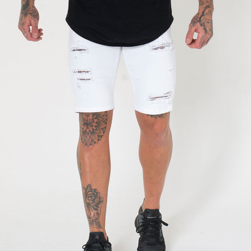 75222342 Sinners Attire Ultra Ripped Denim Shorts - White
