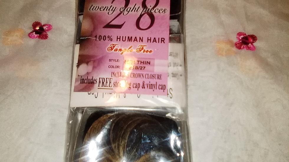 28 piece 100 0/0 human includes crown closure, stocking cap and vinyl cap