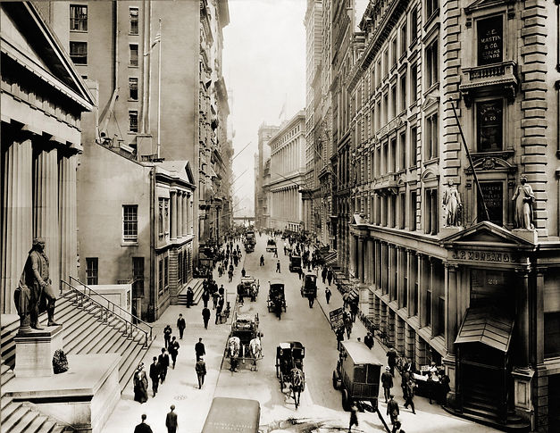 New York City's Wall Street, looking eas