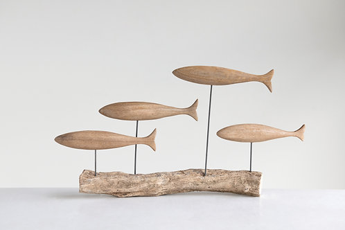 Hand-Carved Mango Wood Fish on Natural Tree Branch (Each one will vary)