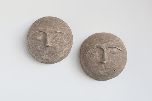 """10"""" Round Paper Mache Face Wall Décor (Each one will vary)"""