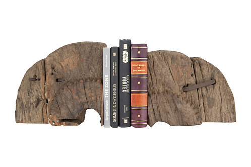 Found Wood Wheel Cog Bookends (Set of 2 Pieces/Each one will vary)