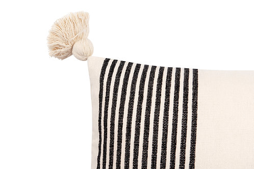 Cream Cotton & Chenille Pillow with Black Stripes