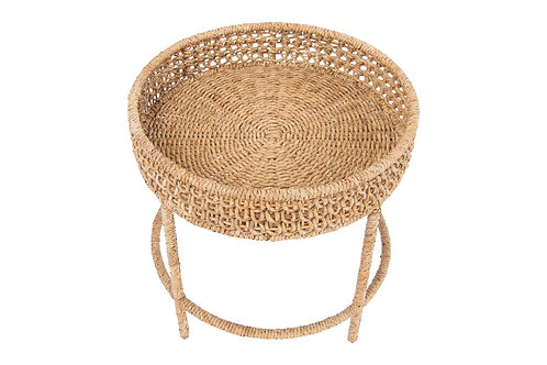 Woven Water Hyacinth & Rattan Accent