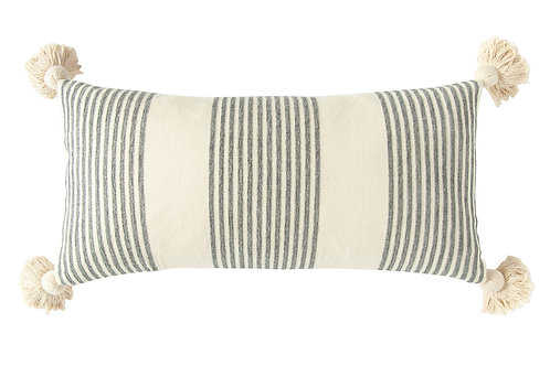 Cream Cotton & Chenille Pillow with Vertical Grey Stripes, Tassels & Solid Cream