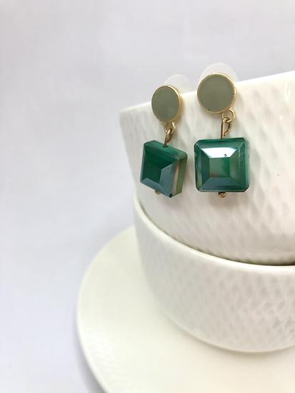 Gold Plated Green Enamel Earrings