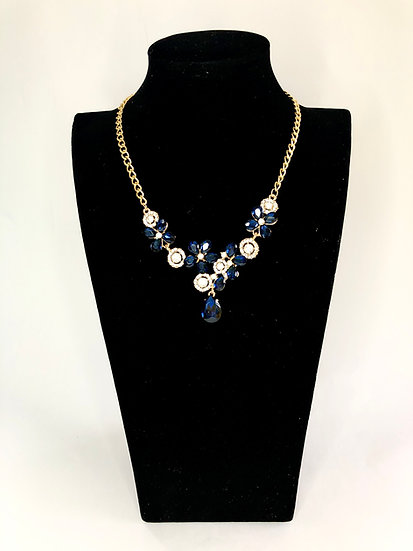 Gold Plated Blue Floral Statement Necklace