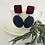 Thumbnail: Magenta and Denim Circle Earrings