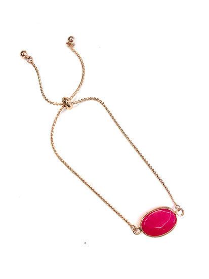 Gold and Cerise Pink Adjustable Bracelet