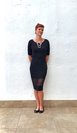 Penny - Pencil skirt with lace panel and back slit