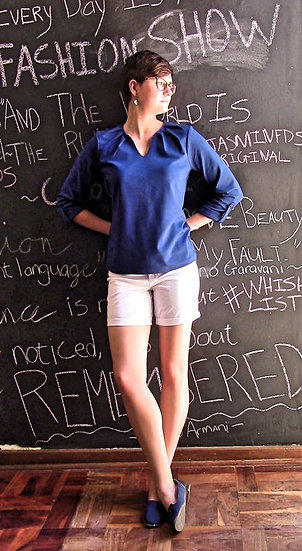 Blue Pleated T-shirt