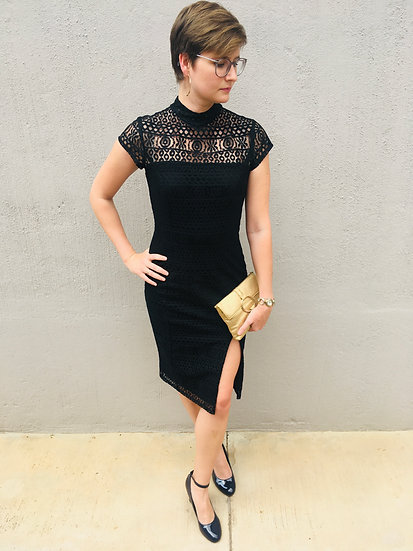 Valentine - Black lace cocktail dress with cap sleeves and a slit