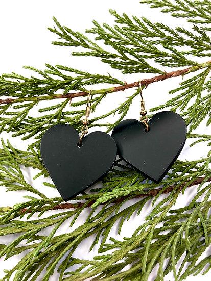 Black Heart Drop Earring