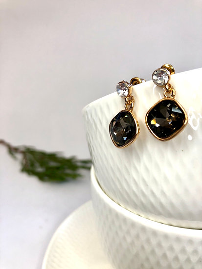 Rose Gold and Charcoal Drop Earring