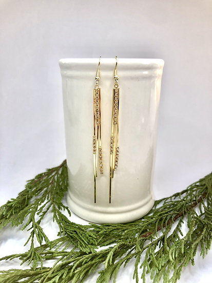 Gold and Diamanté Dangling Earrings