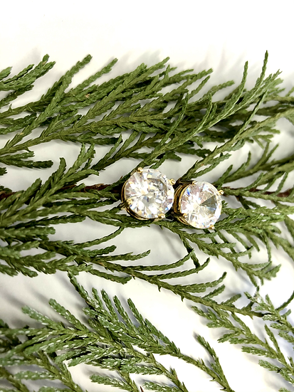 Cubic Zirconia and Gold Plated Studs