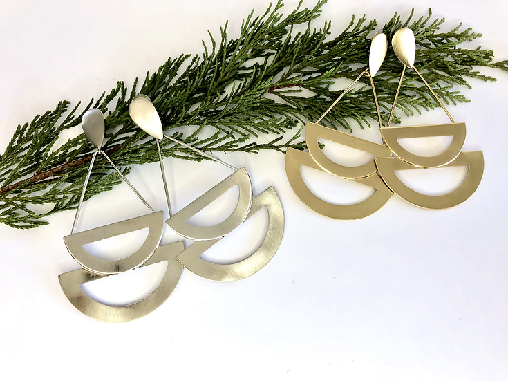 Gold and Silver Plated Cut-Out Shape Earrings