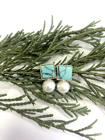 Turquoise Marble and Pearl Stud