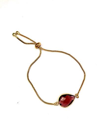 Gold and Purple/Amber Adjustable Bracelet