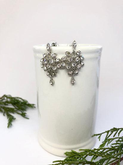 Silver and Diamanté Dangling Earrings