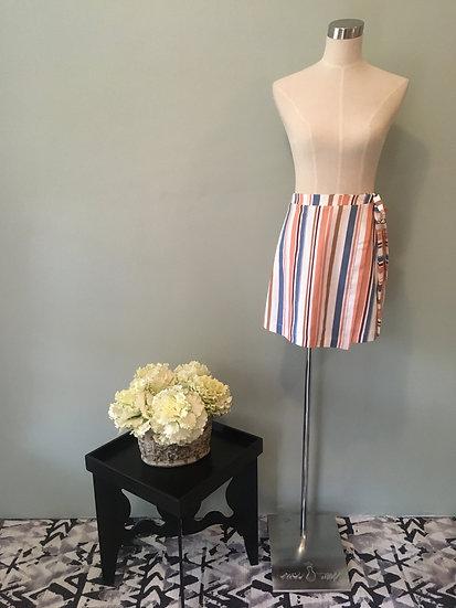 Striped Linen Wrap Skirt