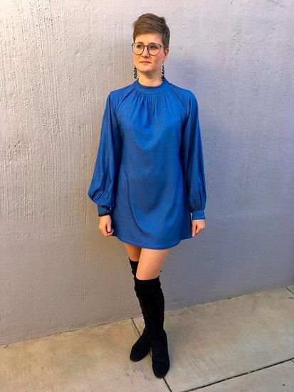 Larissa - Denim long sleeve mini dress with a high neckline
