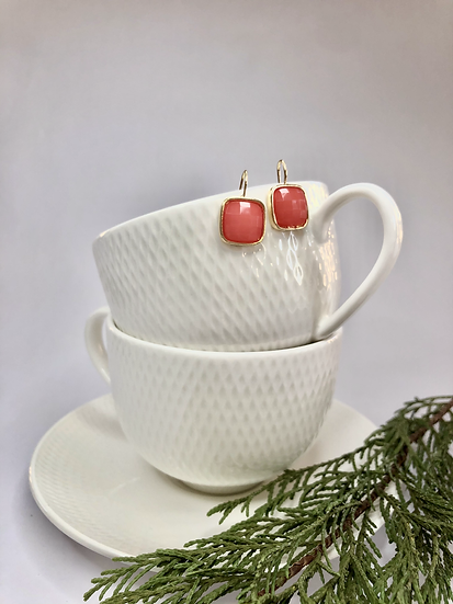 Gold and Coral Earrings
