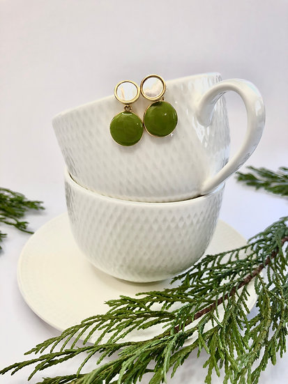 Gold Plated Green Drop Earring