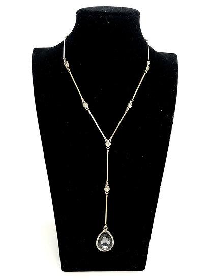 Long Charcoal and Diamanté Necklace