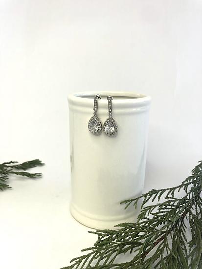 Silver Crystal Teardrop Earring