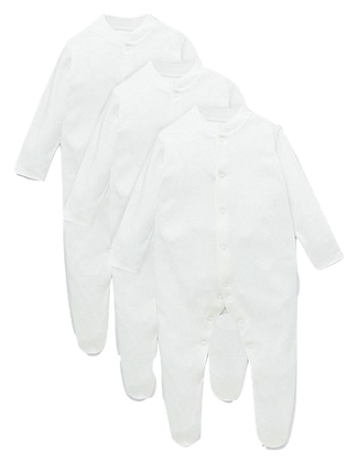 3 Pack white coveralls 3-6 months.