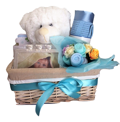 White teddy in the basket