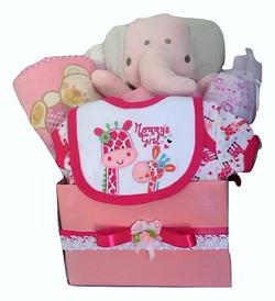 Girls posy box pink elephant