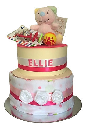 Ellie -2 tier cake with rattle and bear