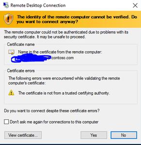 Image of certificate warning popup window