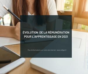 Évolution de la rémunération dans l'apprentissage pour 2021