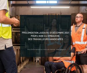 Prolongation au 31 décembre 2021 pour l'aide à l'embauche des travailleurs handicapés