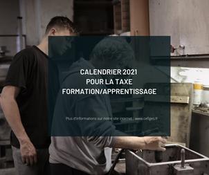 Calendrier 2021 pour la collecte des taxes formation