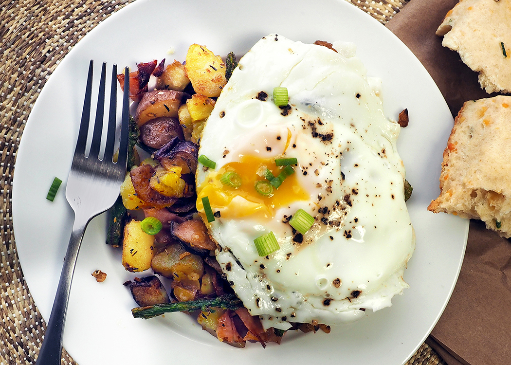 Hash with Poached Duck Eggs