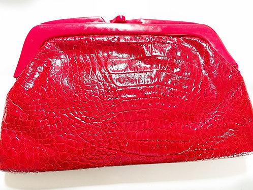 Vintage Red Mock Croc Clutch Bag