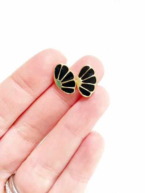 Vintage Black Fan Stud Earrings