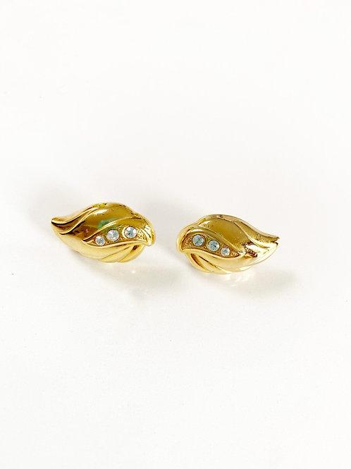 Vintage Gold Stone Set Earrings