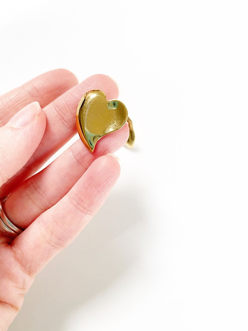Vintage Gold Heart Studs