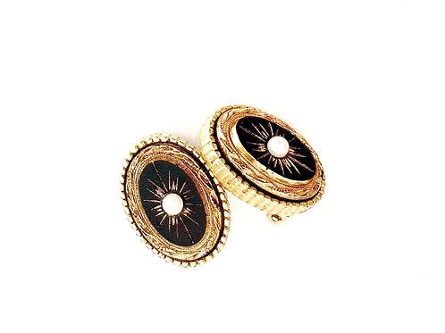 Vintage Black Oval Earrings