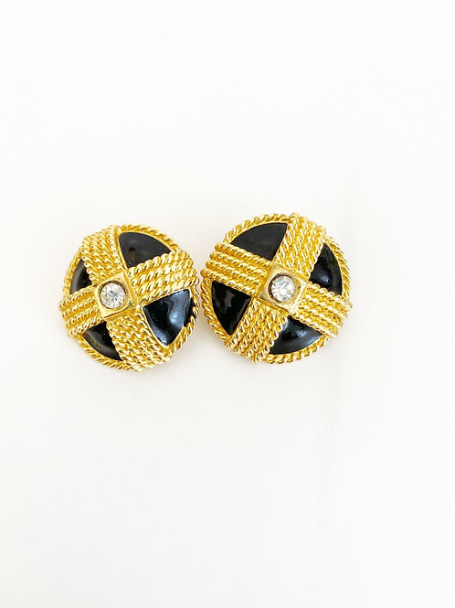 Vintage Black & Gold Clip-on earrings